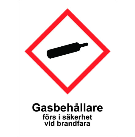 Skylt Gasbehållare