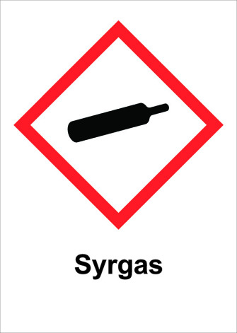 Skylt Syrgas