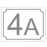 Husnummerskylt i vit aluminium