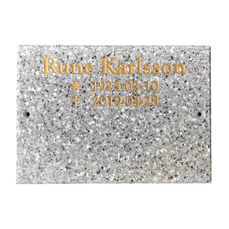 Gravskylt med plats för två namn i 12 mm granitkomposit