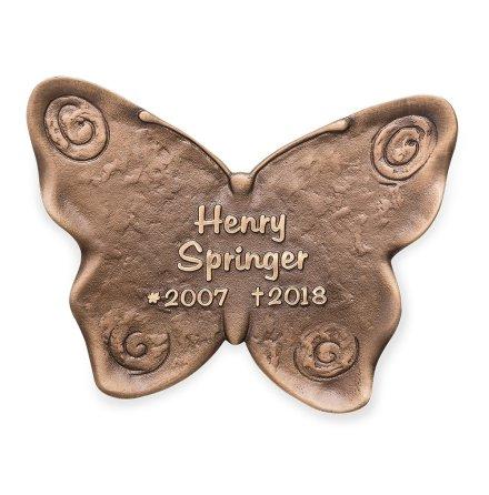 Gravskylt i brons - Fjäril