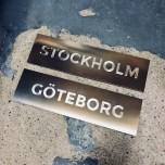 Vaxholm - Dörrskylt i rostfritt stål