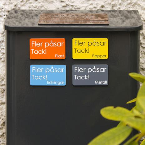 4 st graverade #jagsorterar magnetskyltar till postlådan