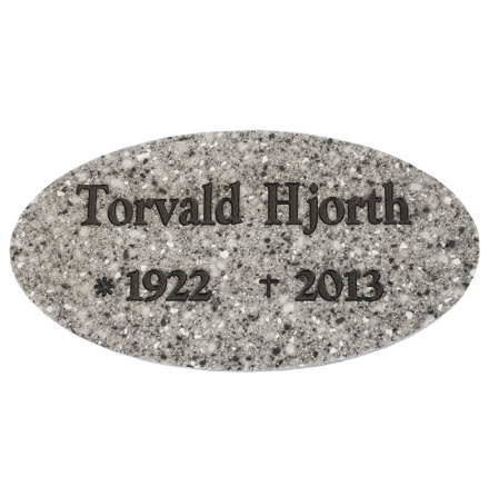 Oval gravskylt i 6mm granitkomposit